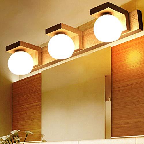DRQ LED Spiegel Lichter Nordic Kreative Massivholz Spiegel Scheinwerfer Waschen Bad Eitelkeit Tischlampe Schlafzimmer Hängen Wandleuchte,Warmlight-21.25in -