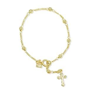 Plaqué or 18K Rosaire Boule Fin Bracelet 17,8cm Religieux Croix Crucifix Lady Teens
