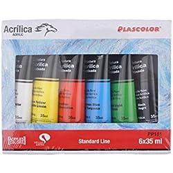 Plascolor PP181 - Pack de 6 tubos de pintura acrílica, multicolor