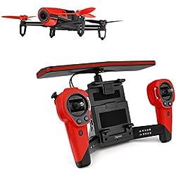 Parrot BEBOP - Dron cuadricóptero (Full HD 1080P, 14 Mpx, 47 Km/h, 11 minutos de vuelo, 8GB, GPS, Vídeo Live Streaming) + Mando Skycontroller + 2 baterías, color rojo