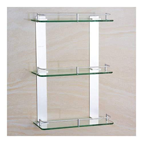 Porta asciugamani ad angolo portaoggetti ripiani bagno alluminio trasparente in vetro temperato mensole per bagno supporto da parete multistrato da parete 8~24 pollici (colore: 500 mm)