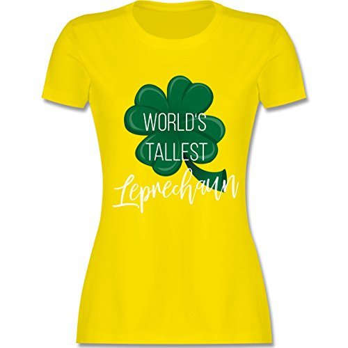 Shirtracer St. Patricks Day - Worlds Tallest Leprechaun - Damen T-Shirt Rundhals Lemon Gelb