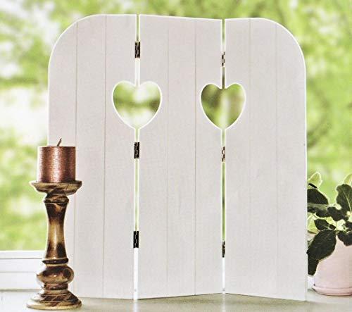 DRULINE 58 cm Wandschirm Heart Fensterdeko Fensterladen Aufsteller Holz Shabby Chic Deko (Weiß)