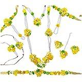 QUVYARTS Yellow, Green Plastic Fabric Designer Flower Jewellery Set for Haldi Baby Shower, Mehendi, Godbharai for Women and G