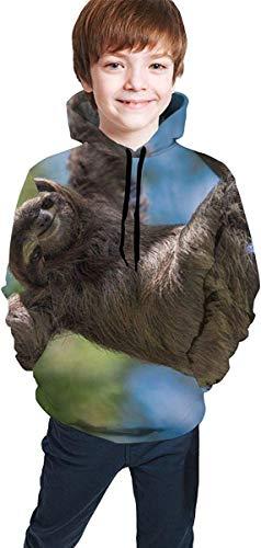 EYSKJ Kapuzenpullover Happy Sloth Youth Boys Girls 3D Print Pullover Hoodies Hooded Seatshirts Sweater -