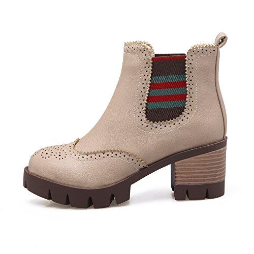 AgooLar Damen PU Niedrig-Spitze Rein Ziehen auf Mittler Absatz Stiefel, Cremefarben, 34