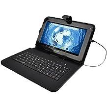 """Sunstech KEY9BK - Funda universal para tablet de 9"""" con función soporte y teclado integrado, negro"""