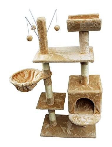 HOME HUT Cat Tree Scratching Post Activity Centre Bed Toys Scratcher New with Cat Nip (Grey) 1