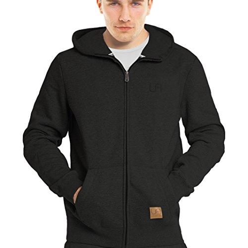 urban air | Street Classics | Zip Hoodie, Sweatjacke, Pullover-Jacke | Damen, Herren, Unisex | für Fitness und Freizeit | grau oder schwarz | S, M oder L (S, Street Classics schwarz) (Schwarze Kapuzen-jacke)