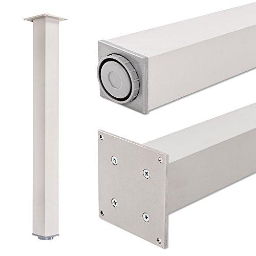 Pata extensibles de mesa, 100% aluminio | Sossai Exclusivo E4TBAL | Perfil: plaza | Incluidos accesorios de montaje | 1 unidades | Altura regulable 710 mm + 20 mm