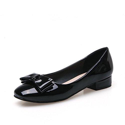 AllhqFashion Femme à Talon Bas Couleur Unie Tire Carré Chaussures Légeres Noir