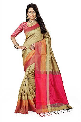 J B Fashion Women's Silk Saree With Blouse Piece (S-Bahubali-3_Beige)