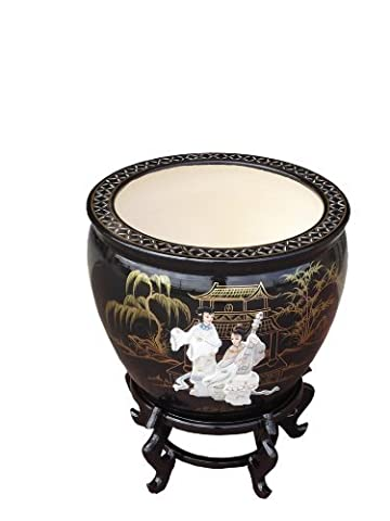 Oriental 16 Plant Pot / Fishbowl with Stand, Mother Of Pearl Chinese Furniture by China Warehouse Direct