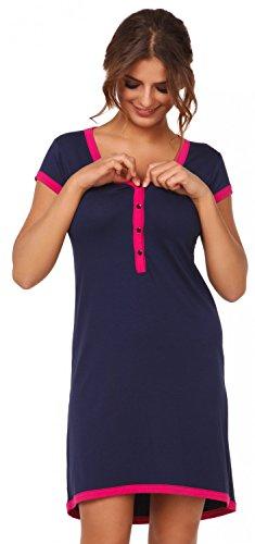 Happy Mama. Damen Umstands-Nachthemd mit Stillfunktion. Stillshirt Kurzarm. 981p Marine