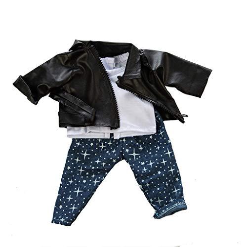 Traje Ropa 3 Piezas Chaqueta con Cremallera y cinturón+Chaleco Blanco+Pantalones Estampados para 18 Pulgadas Americana Muchacha Muñeca Gusspower