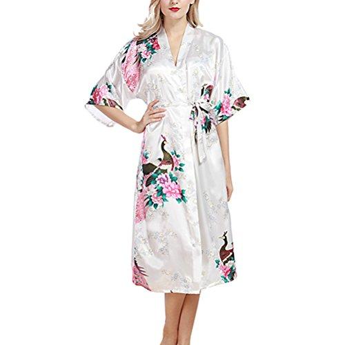 Zhhlinyuan Sexy Womens Lingerie nightwear Night gown Nightie Silk Robe Bathrobe wp200 white