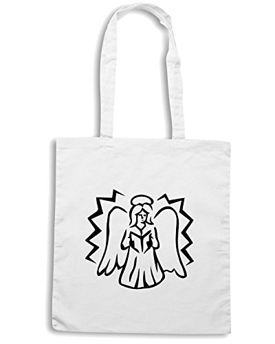 T-Shirtshock - Borsa Shopping FUN0586 angel in prayer decal 2 21459 Bianco