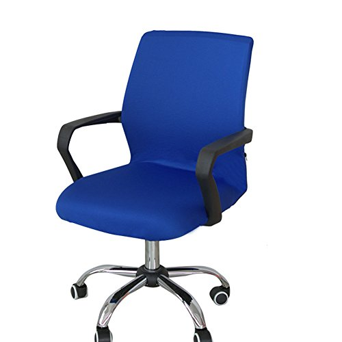 Office Computer Chair Cover, Universal Replacement Removable Rotating Stretch Resilient Desk Boss Armchair Chair Cover Slipcover (Blue S)