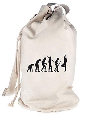 Shirtstreet24, EVOLUTION YOGA, bedruckter Seesack Umhängetasche Schultertasche Beutel Bag