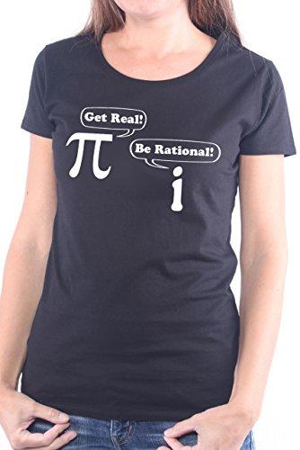 Womens-girlie Girl Tee (Mister Merchandise Ladies Frauen Damen T-Shirt Get Real Be Rational Pi I Mathe Nerd, Größe: M, Farbe: Schwarz)