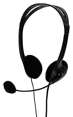 PC Computer Headset Kopfhörer Stereo Kopfbügel + Mikrofon flexibel + Lautstärkeregler 2 x 3,5mm Klinkenstecker Klinke schwarz Laptop Notebook