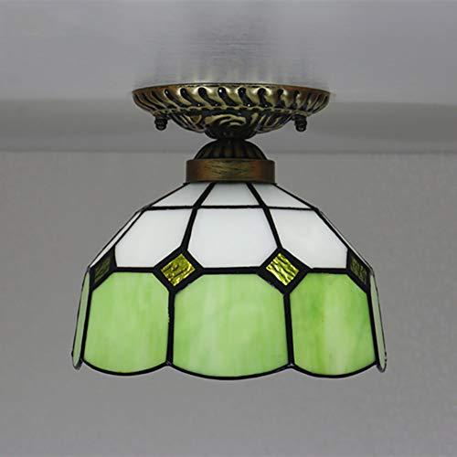 Litaotao Tiffany Stil Einfache Deckenleuchte Hochwertige Glasmalerei Jugendstil Deckenlampe/Glas Lampenschirm Multicolor Für Schlafzimmer Gang Wohnzimmer 8 Zoll,Green (Lampenschirm Glasmalerei)