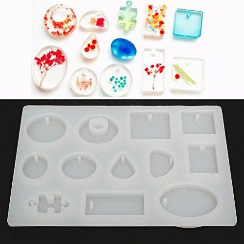 Cisixin DIY Silikon Anhänger Basteln Gießform Schmuck Mold Halskette Schmuck Mould (12 - Moulds Molds Silikon