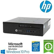 """UtraSlim PC HP EliteDesk 800 G1 USDT Core i5-4570s 2.9GHz 8Gb Ram 320Gb DVD Windows 10 Professional con LICENZA NUOVA ORIGINALE MAR """"Microsoft Authorized Refurbisher"""" (Ricondizionato Certificato)"""