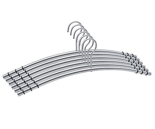 Momex 6 Metall Kleiderbügel hochwertige & robuste Premium Kleiderbügel aus Edelstahl rostfrei und rutschfest [6 Stück]