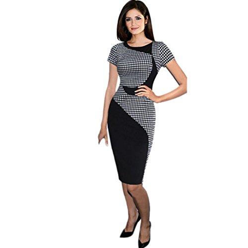 Elecenty Damen Sommerkleid Rock Büro Bodycon Kleider Drucken Frauen Mode Kurzarm Knielang Kleid Minikleid Kleidung Cocktailkleider Abendkleider