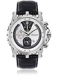 Chrono Diamond 82063_weiß-45 mm - Reloj para hombres, correa de cuero color negro