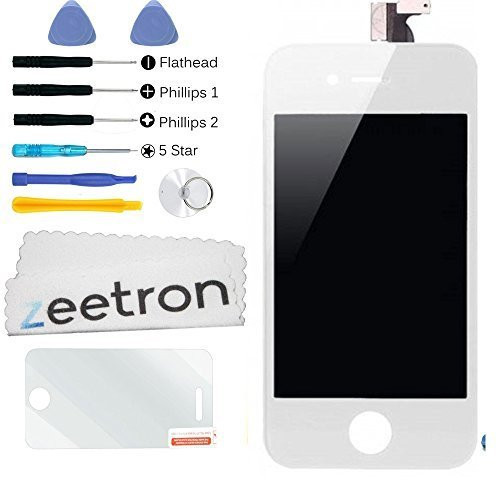 Zeetron Front Screen Digitizer LCD Assembly for iPhone 4 AT&T/GSM - White + Tools + Screen Protector + Cloth