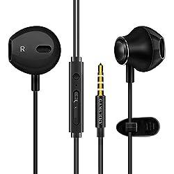 Auriculares,Auriculares con micrófono, Sistema de cancelación de Ruido y Sonido Envolvente. Compatibles con Apple,Samsung,Android y PC (Negro)