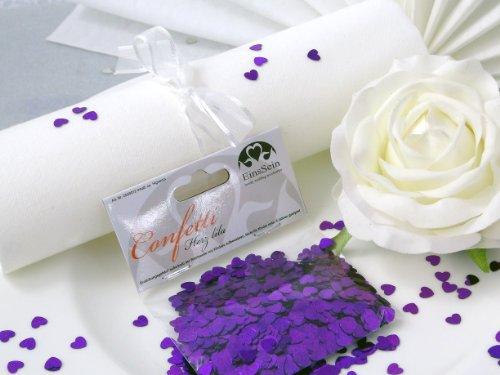 ti Hochzeit EinsSein® Herz klein lila metallisch Tischdeko Hochzeit (Lila Und Creme-hochzeit)