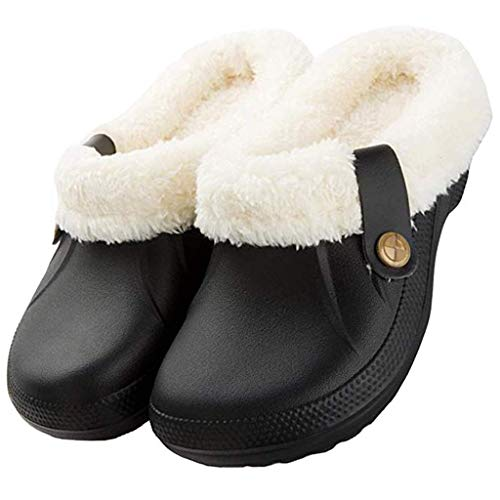 Dasongff Unisex Winter Clogs Warm Gefüttert Hausschuhe Gartenschuhe Herren Damen Memory Foam Pantoffeln Antirutsch Plüsch Slipper Winterschuhe für Indoor Outdoor Gr.35-53