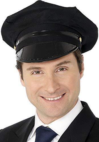 Damen Herren Erwachsene schwarz Chauffeur Hut Kappe Taxi Polizei Uniform Kostüm Zubehör
