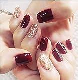 Künstliche Fingernägel in verschiedenen Größen, 24 Stück, goldfarben, glitzernd, Rot