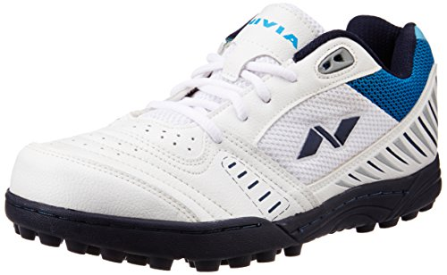 Nivia Caribbean Cricket Shoes, Men's 9 UK (White/Blue)  available at amazon for Rs.1029