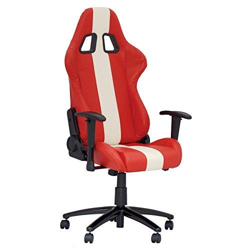 Preisvergleich Produktbild Bürodrehstuhl Baquet Kunstleder rot/weiß mit Armlehne