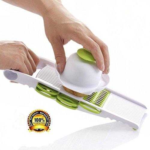 Gemüsehobel- und Reibesetmit Halterung, Obstschäler und 5Edelstahlklingen (Hand-held-gemüse-zerkleinerer)