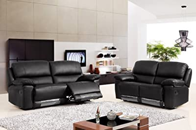 Valencia Recliner 3 & 2 Suite Black Leather by Speedy Sofas