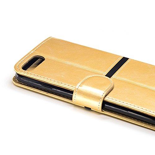 EKINHUI Case Cover IPhone 7 Plus Fall-Abdeckung, erstklassiger PU-lederner horizontaler Schlag-Standplatz-Fall mit Halter u. Wallet u. Karten-Schlitz u. Foto-Rahmen für Apple IPhone 7 plus 5.5 ( Color Gold