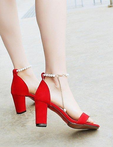 LFNLYX Scarpe Donna-Sandali-Matrimonio / Formale / Serata e festa-Aperta / Cinturino alla caviglia-Quadrato-Finta pelle-Nero / Rosso Black