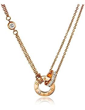 findout hochwertigen 14K Roségold vergoldet Titan Stahl Liebe Diamant Kreis Anhänger Halskette (f1378)