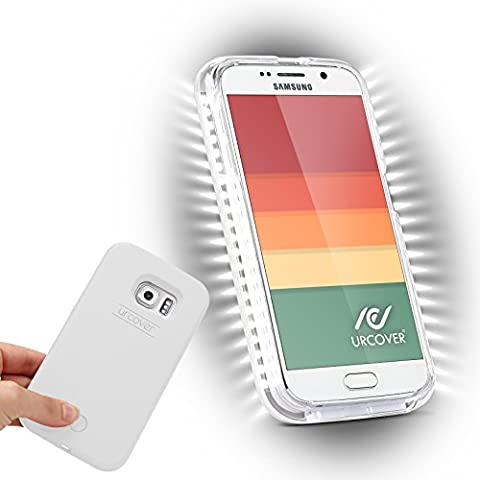 URCOVER® Luce Led Case Cover Selfie Custodia Samsung Galaxy S6 | Guscio Rigido Antishock in Bianco | Bumper Protettiva Illuminazione Torcia Led Regolabile Robusta Resistente