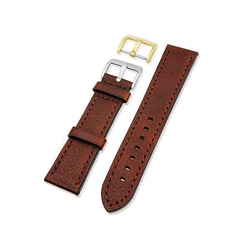 Mi-Watch Echtes Lederband mit Gold-Schnalle, 18mm, 20mm, 22mm und 24mm, Schwarz mit Braun-Varianten, Dunkelbraun, 22 mm