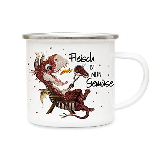 ilka parey wandtattoo-welt Emaille Becher Camping Tasse Kleiner Drache im Liegestuhl & Spruch Fleisch ist Mein Gemüse Kaffeetasse Geschenk eb420
