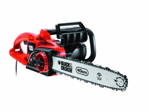 Black+Decker Kettensäge, Motorsäge (1900W, 40cm Schwertlänge, werkzeugloses Kettenspannen, Automatische Kettenschmierung) GK1940T, schwarz orange