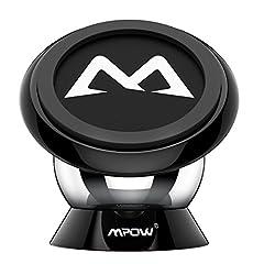 Idea Regalo - Mpow Supporto Auto Smartphone Magnetico 360° Girevole Sticky Portatile, Porta Cellulare per iPhone 7 7 plus 6s 6 plus 5s 5c 5, Samsung Galaxy S6 S6 Edge S5 S4, ed altri Smartphone Lumia LG Huawei Motorola, Nero