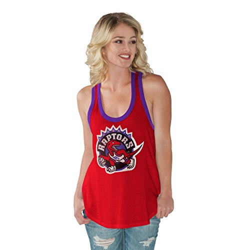 GIII For Her NBA Toronto Raptors Women's Power Play Color Block Tank Top, X-Large, Red